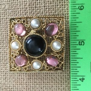 """Vintage Pearl & Gems Pin Taupe Gold tone  1 3/4"""""""